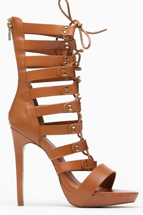 8519e03eb3c Liliana Mid Calf Criss Cross Open Toe Tan Heels   Cicihot Wedges Shoes  Store Wedge