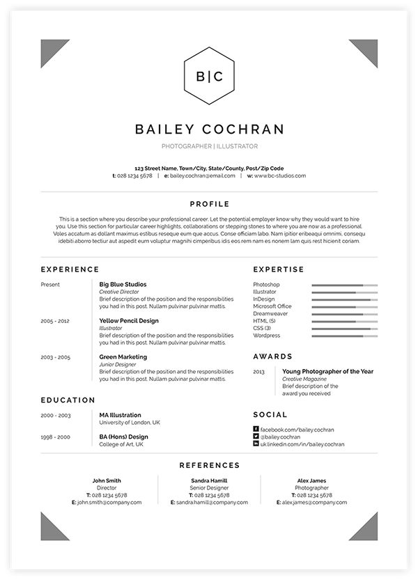 Best Templates Images On   Resume Design Design