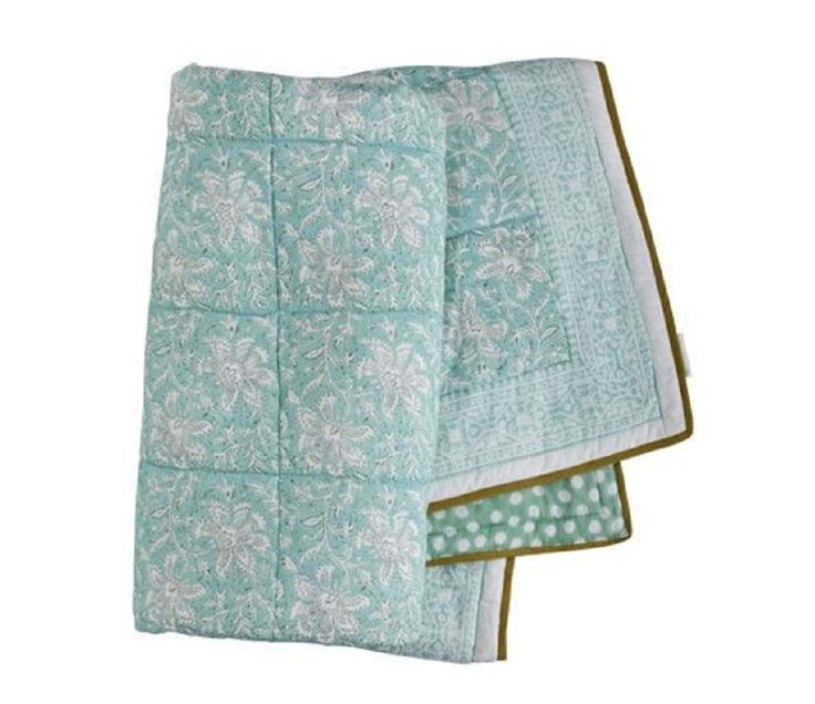 Babyteppe/sengeteppe, patchwork mint