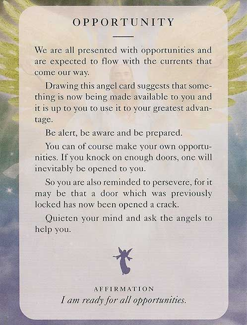 """OPPORTUNITY"" Angels of Light Card – Diana Cooper"