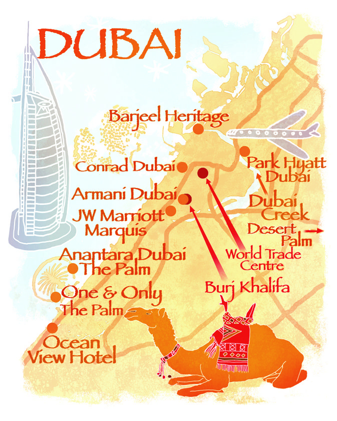 Dubai map by Robert Littleford