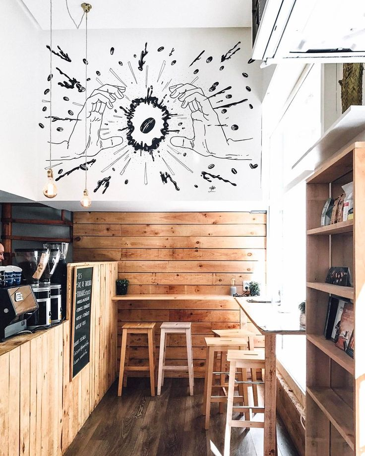 Back in our new favourite third wave coffee joint  love the artwork by  Barcelona illustrator