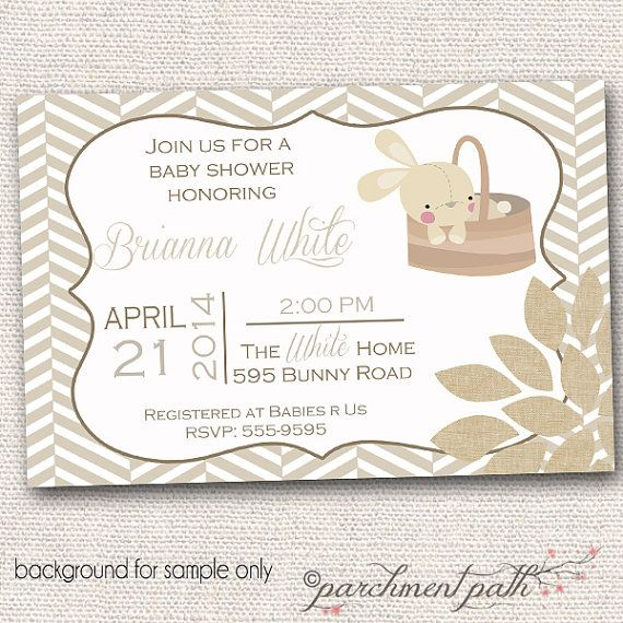 bunny baby shower invitation gender neutral vintage baby shower
