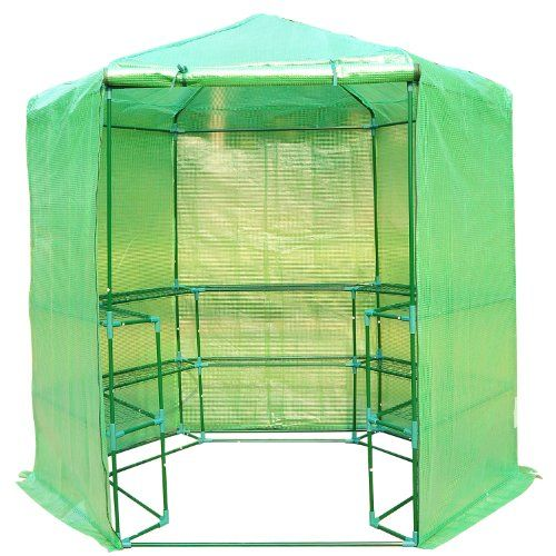 Outsunny Portable 3-Tier Shelf Hexagonal Walk In Greenhouse, 7.5-Feet | shopswell