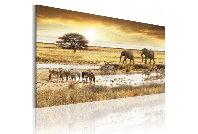"""Painting in african style """"Dream about Africa"""" #africa #landscape #elephant #savanna #painting#printoncanvas"""