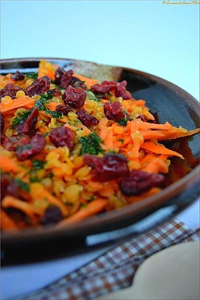 Salade de lentilles corail et cranberries, sauce à l'orange…