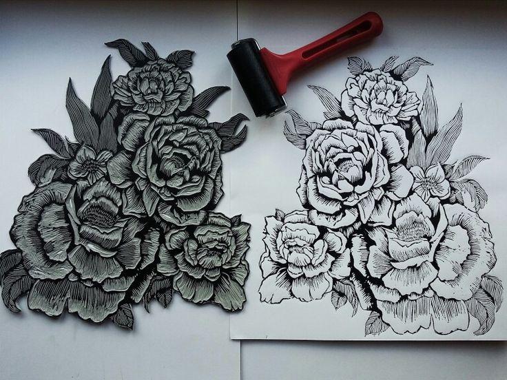 #linocut #fiori