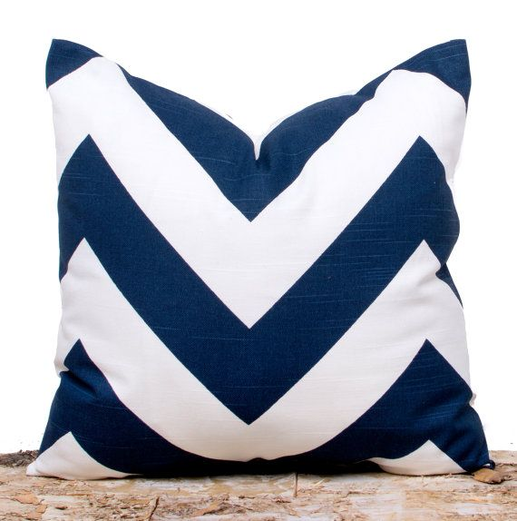 Navy and White Pillow Navy Chevron Pillow Case Navy by LilyPillow, $13.00