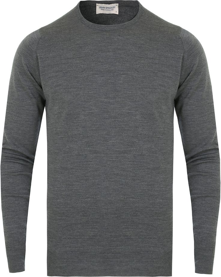 John Smedley Marcus Easy Fit Merino C-Neck Pullover Charcoal i gruppen Tröjor / Pullovers / Rundhalsade pullovers hos Care of Carl (14061511r)