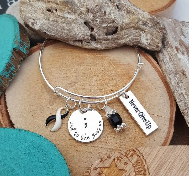 BW-4 Ehlers Danlos Syndrome Semicolon Bracelet Semicolon Jewelry CVID Awareness And So She Goes On Jewelry Never Give Up Endocrine Cancer
