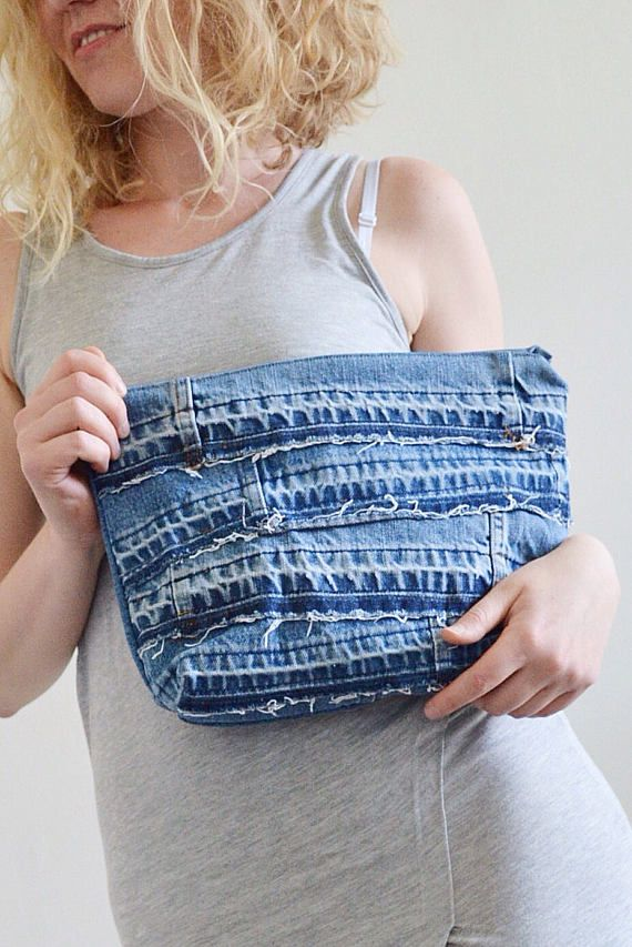 DENIM clutch bag with cotton lining // recycled denim