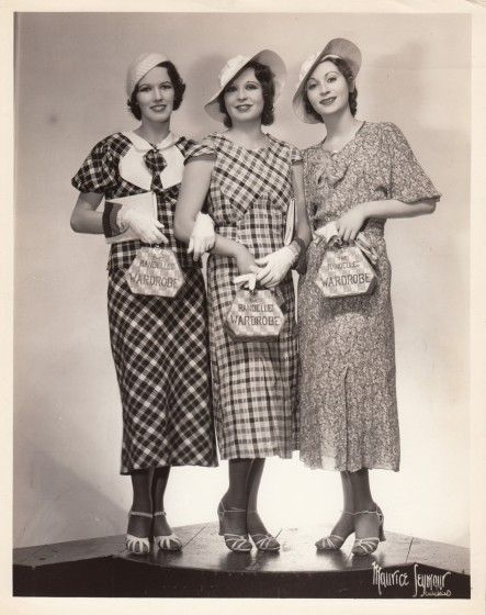 1930s frocks day wear plaid cotton dresses long skirts pleats hats gloves shoes purses vintage fashion style photo print model magazine 30s