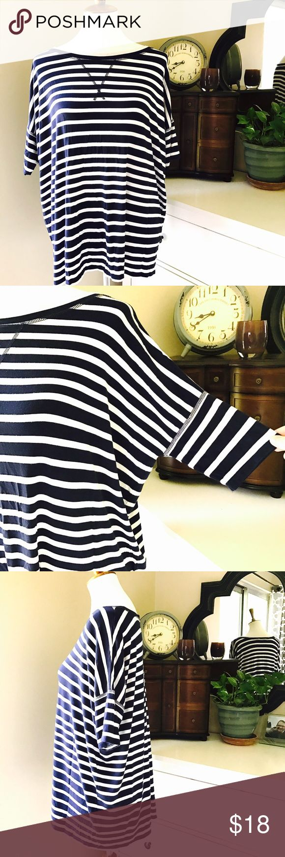 """CAbi Style #769 Nautical Tee Stripes Brand: CAbi Details: White and navy striped loose shirt, short sleeve. Blouse Top shirt  Size: Small Measures approx 26"""" from underarm to underarm and has a 24""""hem  Gently pre-owned and ready to wear.  Thanks for looking! CAbi Tops Tees - Short Sleeve"""