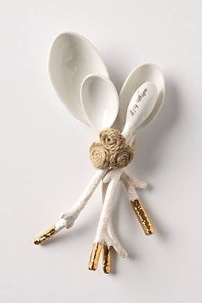 Anthro gold-detailed coral measuring spoons