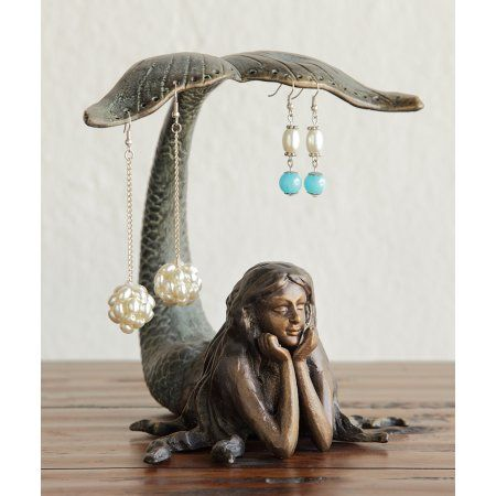 Pretty Mermaid Jewelry and Earring Holder 7 Inch Dresser Table Decor