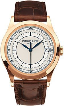 Patek Philippe Calatrava Watches. 38mm 18K rose gold case, sapphire crystal back, 2-tone silvery-gray dial with blue transfer print, self-winding caliber 324 S C movement with center sweep second hand