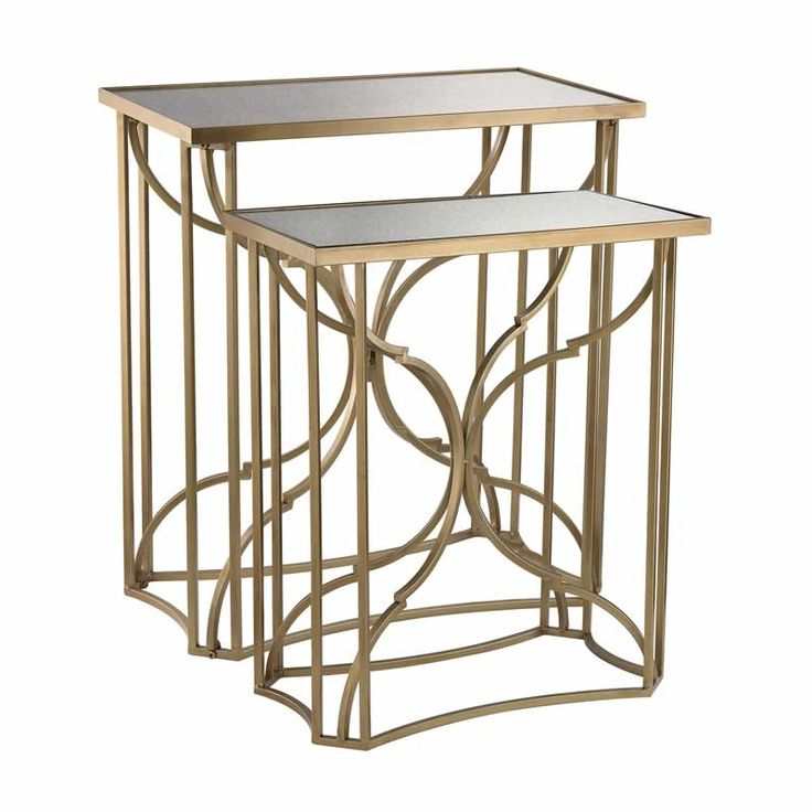 Antique Mirror Side Table Set Gold Metal Bases Elk 51 009 S2  Set of Two Modern Rectangular Moorish Side TablesThe strong angular lines of these tables are offset by the curving inner hourglass frame. The delicate metal detailing gives these pieces a simple classic elegance.