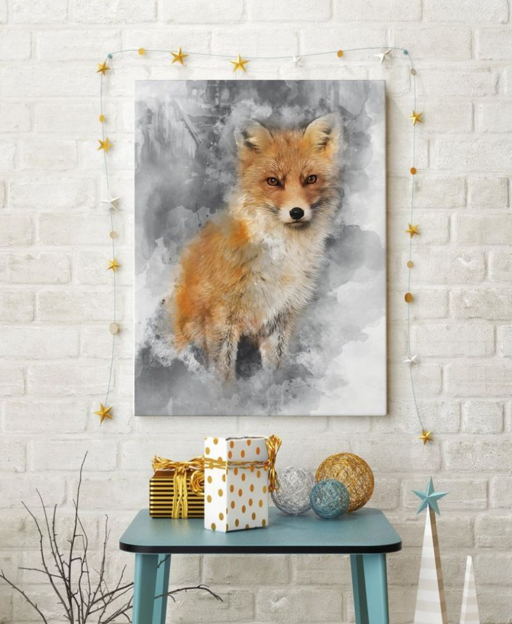 Prices starts with 15 EUR/$. New project by Hog studio (hogstudio.design@gmail.com) Fox- available as a canvas print or Poster.  #fox  #poster #art #canvas #paint #interiors #grey #modern #design #paint #animals
