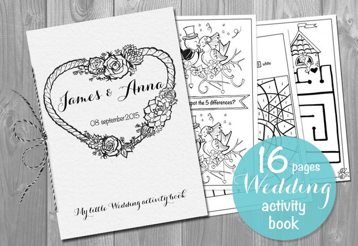 Kids Wedding Activity Book Printable - Personalized booklet pdf pages template- Children's Activity Sheets by KalinaPaperShop on Etsy https://www.etsy.com/listing/265841989/kids-wedding-activity-book-printable