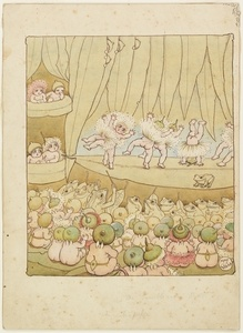 The Gumnut Ballet, watercolour drawing by May Gibbs. From the collections of the Mitchell Library, State Library of New South Wales http://www.sl.nsw.gov.au/discover_collections/society_art/gibbs/index.html
