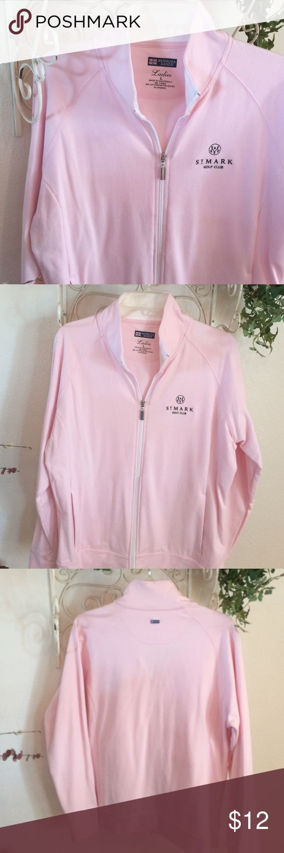 Women's pink zip up sweat shirt Pink and white, St mark golf club sweat shirt Tops Sweatshirts & Hoodies