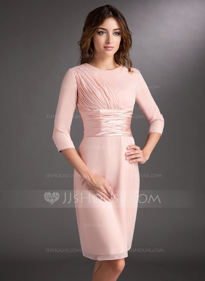 Mother of the Bride Dresses - $124.49 - Sheath Scoop Neck Knee-Length Chiffon Charmeuse Mother of the Bride Dress With Ruffle (008006836) http://jjshouse.com/Sheath-Scoop-Neck-Knee-Length-Chiffon-Charmeuse-Mother-Of-The-Bride-Dress-With-Ruffle-008006836-g6836?ver=0wdkv5eh