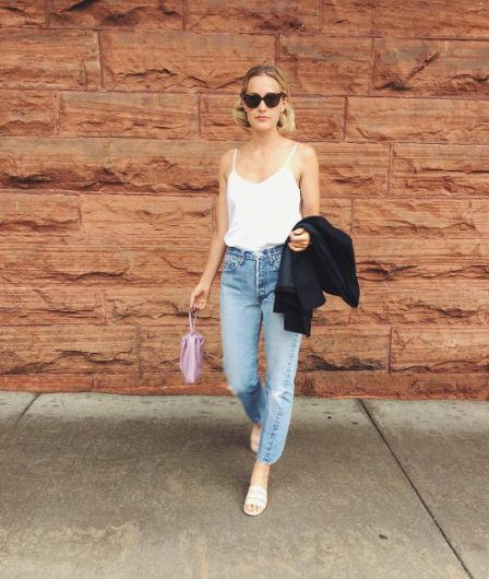 Complete a camisole and jeans with a mini pouch and some slip-on sandals. #refinery29 http://www.refinery29.com/casual-outfits-lazy-girl-weekend-style-photos#slide-19