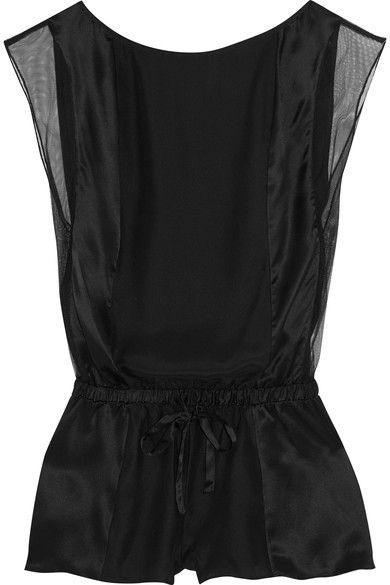 Calvin Klein Underwear - Tulle-trimmed Silk-satin Playsuit - Black -