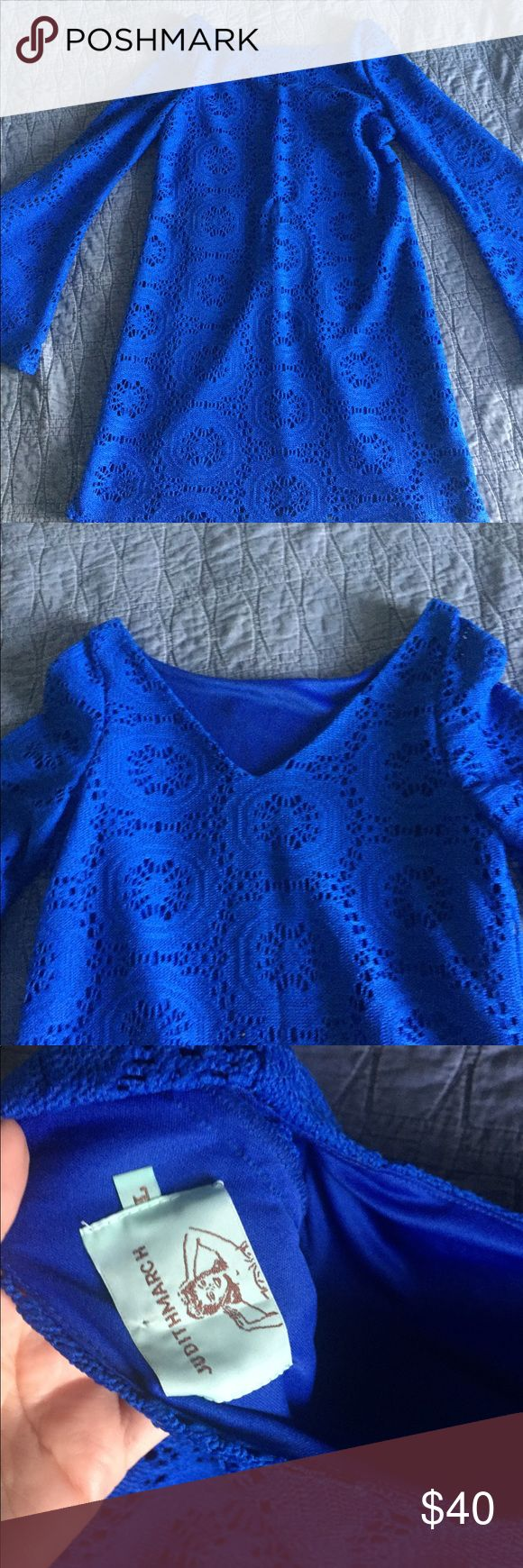 Judith March Dress Blue crochet overlay dress with bell sleeves Judith March Dresses