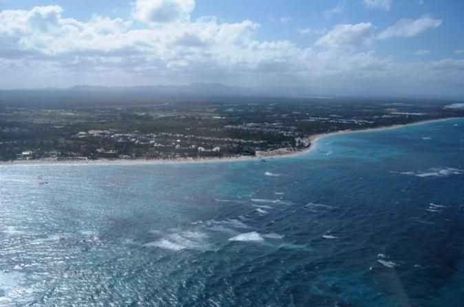 Punta Cana Beaches Helicopter Tour Most people get an overview of a place using Google maps. Experience real bird's-eye views of southeastern Dominican Republic on this helicopter tour over Punta Cana. Soar over the endless expanse of the Caribbean, spotting tiny white sailboats and maybe even dolphins frolicking in the turquoise waters. Long white stretches of beach, dense tropical woods and a shipwreck are all part of your aerial tableau. Choose a flight from 10 to 30 ...