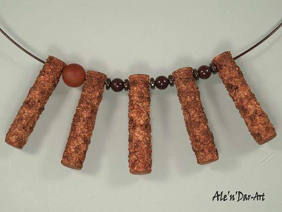 Polymer clay necklace polymer clay organic necklace organic Ale'n'Dar-Art