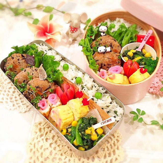 レンコンひじきの豆腐バーグ弁当♪