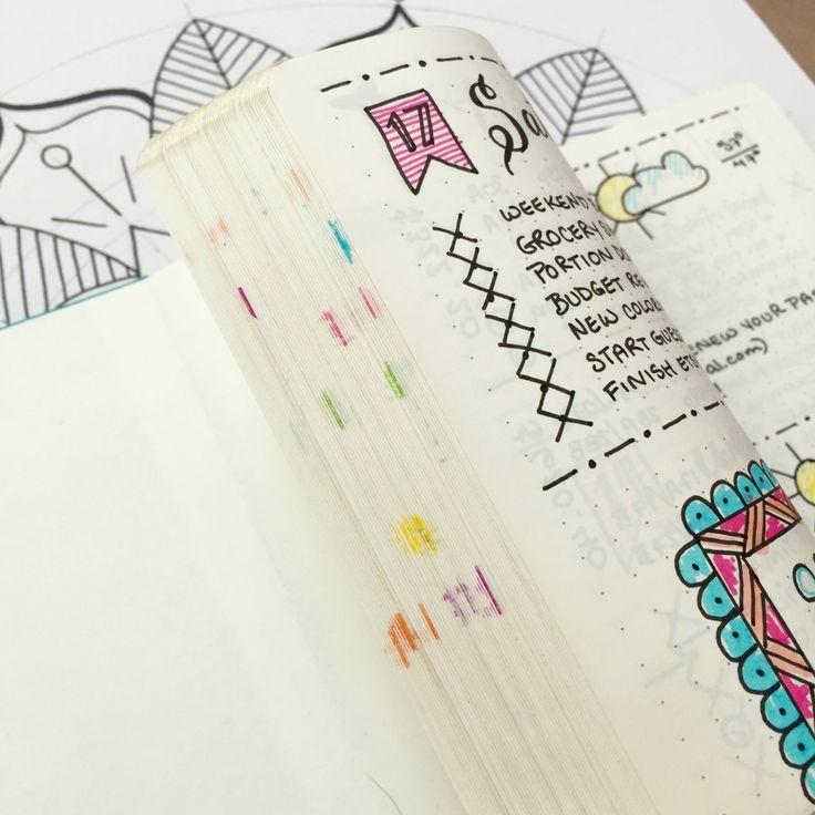 Egy másik példa, hogy hogyan segíthetnek a színkódok a megfelelő tartalom megtalálásában.    Bullet Journal | navigáció | zezil