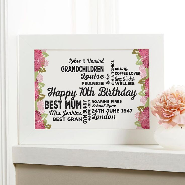Create your personalised print or canvas with a floral background as a 70th Birthday gift. See your design preview on screen before you buy