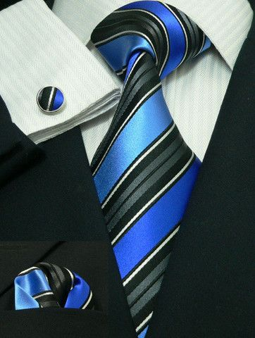 Blue and Black Stripe Silk Necktie Set JPM69H – Toramon Necktie Company