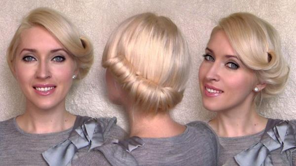 retro düşük topuz saç model
