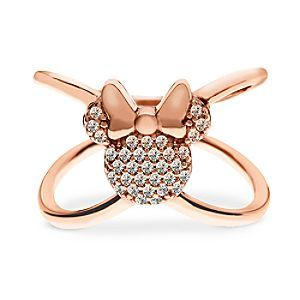 Minnie Mouse ''X'' Ring by Rebecca Hook - Rose Gold by Rebecca Hook | Disney Store Minnie's at hand to provide your day with a little sparkle. Fashioned from sterling silver by designer Rebecca Hook, this ring's enchanting rose gold plating provides a striking contrast with the cubic zirconia encrusted in the Minnie icon.