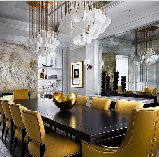 Awesome Dining Room Colors Yellow And Brown Exceptional Statement Lighting Mirror Wall Art