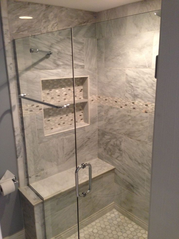 A travertine walk-in shower with kohler shower head and valve and custom sliding glass doors. Description from srwcontractinginc.com. I searched for this on bing.com/images