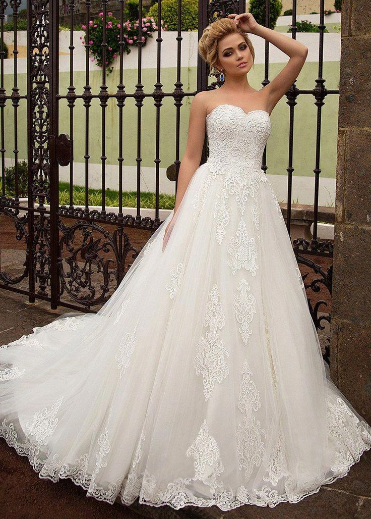 Stunning Tulle Sweetheart Neckline A-line Wedding Dress With Lace Appliques #alineweddingdressstrapless
