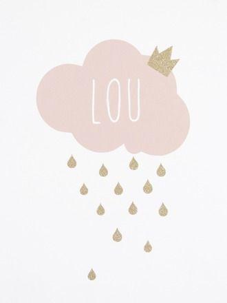 """Grand stickers """"Big cloud"""" XL rose poudre avec ses gouttelettes en paillettes dorées.  Ce stickers nuage sera ideal pour identifier ou décorer la chambre de votre petit bout.   - 19110359"""