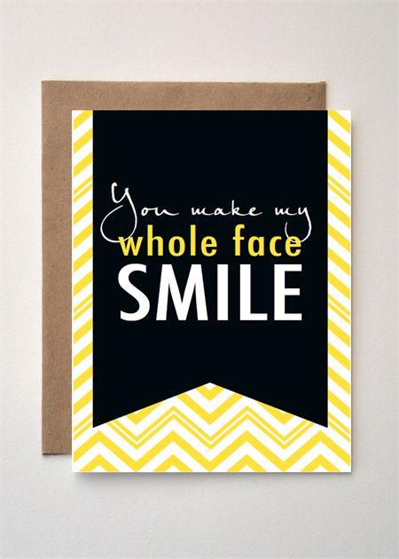 WHOLE FACE SMILE  - Black & Yellow chevron card