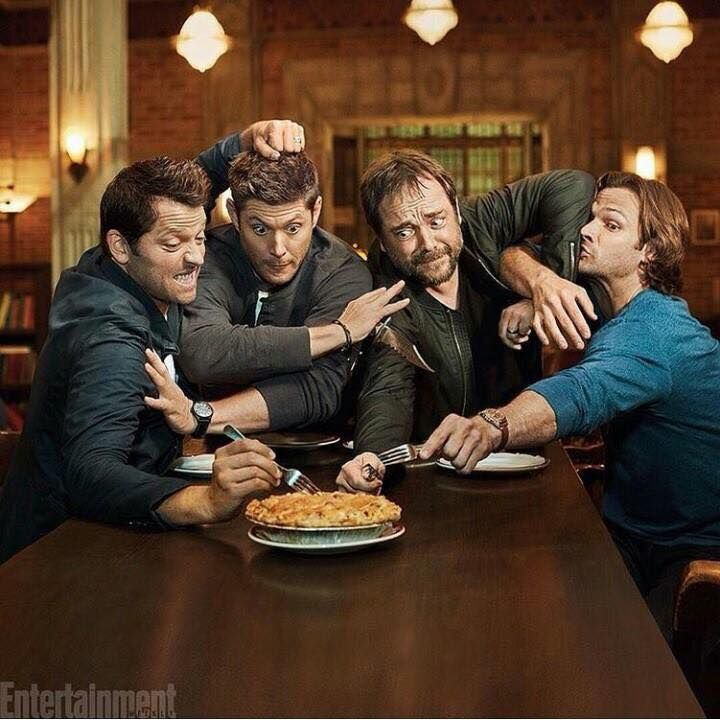 EW Fall Preview 2016 Photo Shoot. PIE! --- I love that Jensen is the only one not holding a fork; he's holing a knife. Because while the others just want pie, Jensen is out for blood, that's how seriously he takes his pursuit of such a delectable baked good. Lol