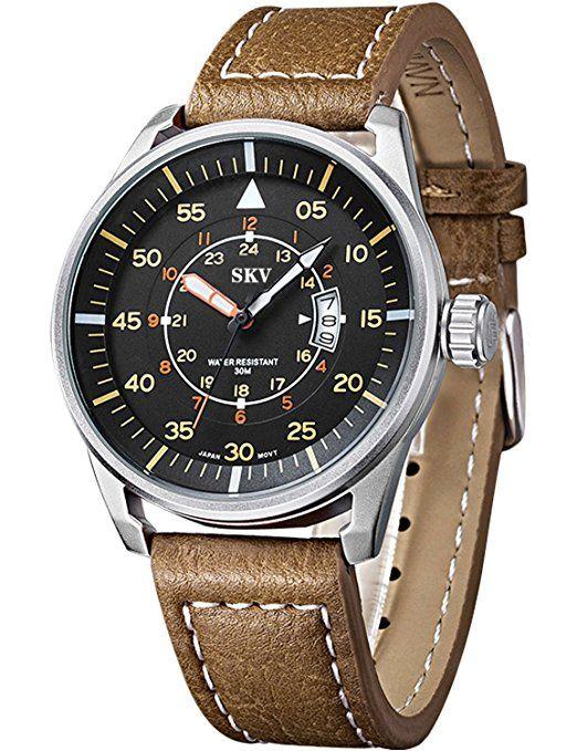 sisistore Mens Reloj de pulsera con banda de cuero resistente a la abrasión, espejo y reloj militar verde