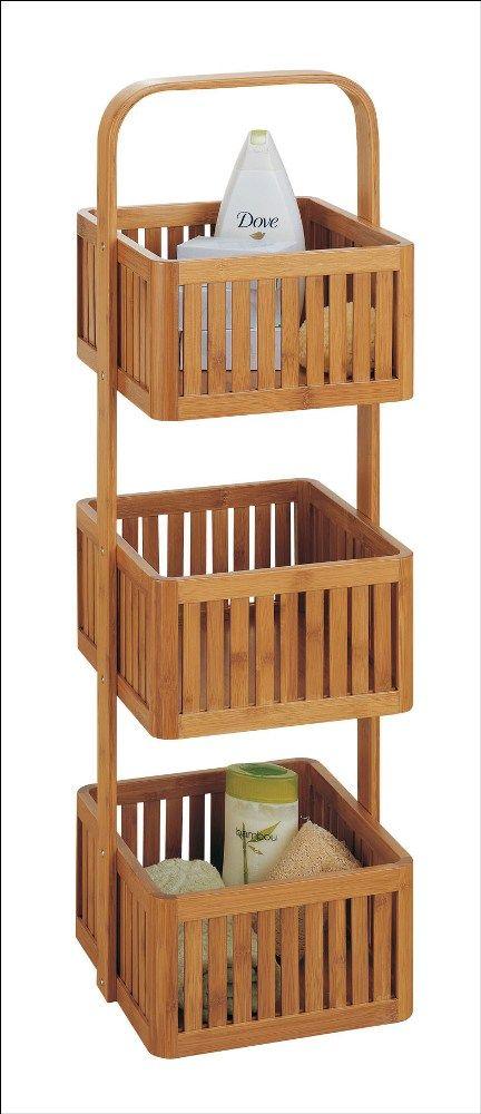 Lohas Bamboo Bathroom Caddy   3 Tier | Organize.com