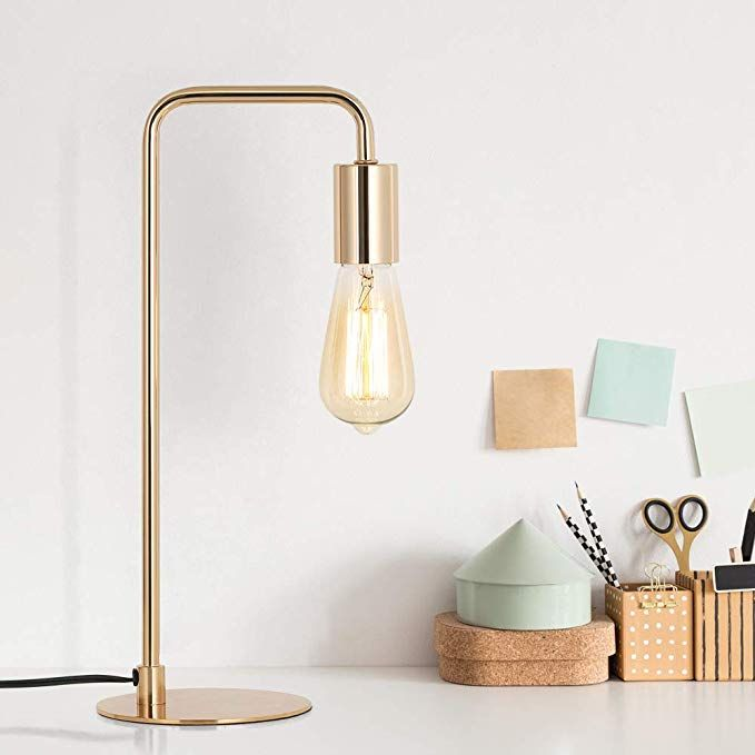 Edison Table Lamp Industrial Desk Lamps Small Gold Metal Lamp Suit For Bedside Dressers Coffee Table Study In 2020 Industrial Desk Lamp Edison Table Lamp Metal Lamp