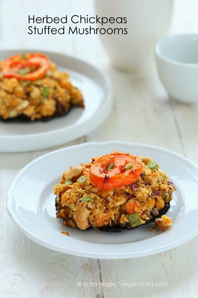Portabella Mushrooms stuffed with Herbed Chickpeas. Vegan Recipe.