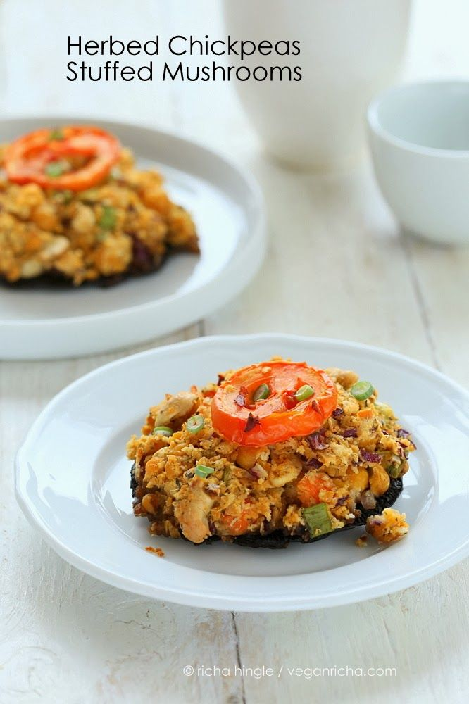 Portabella Mushrooms stuffed with Herbed Chickpeas. Vegan Recipe | Vegan Richa