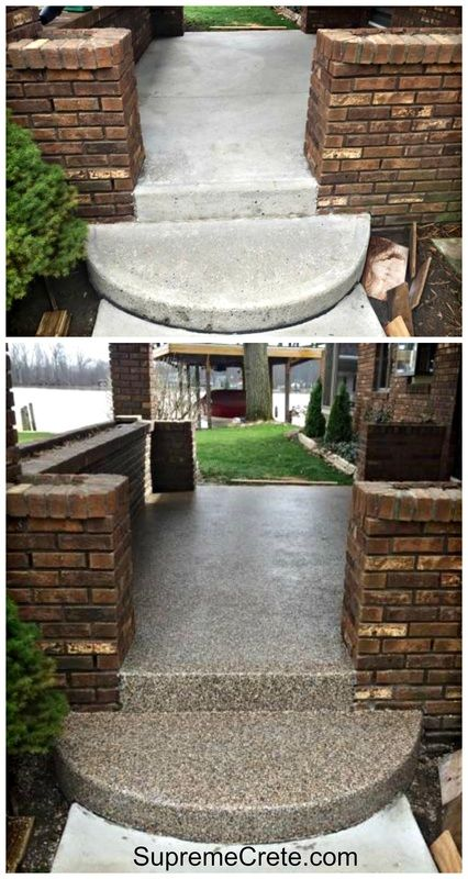 This week at Indian Lake, Ohio we had a customer that wanted to refresh the look of their concrete front porch.  After proper concrete preparation, we applied the 2 coats of our PermaFlex product...