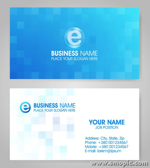 Vector lattice blue card background design template for Free business card backgrounds